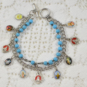 Handcrafted Religious Charm Bracelet Re-purposed